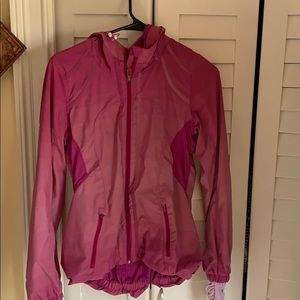 Pink lined, hooded light water repellent jacket